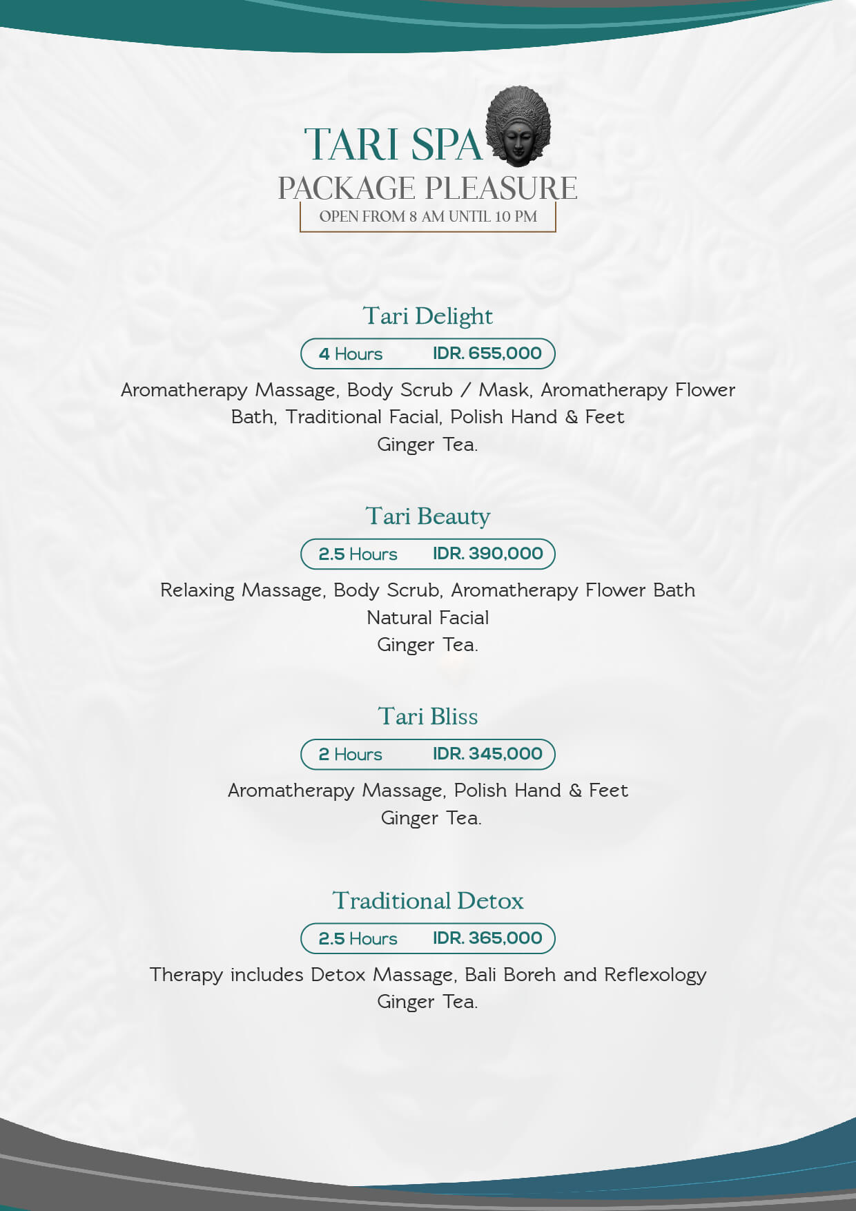Tari spa spa of bali garden beach resort menu package pleasure xflitez Images